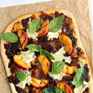 Grilled Peach and Balsamic Fig Pizza with Bacon, Basil and Brie Recipe