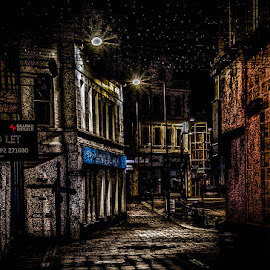 To Let by Andrew Lancaster - City,  Street & Park  Night ( bricks, streets, light, road, buildings, night, shops, cobbles, nightime, stone, architecture )