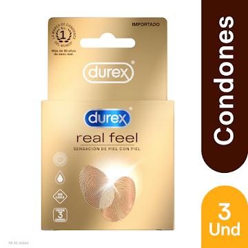 Condones Durex Real Feel   Sensacion de suavidad x 3 Uni