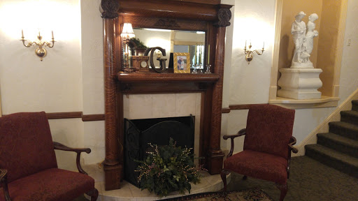 The parlor fireplace