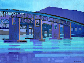 "Photo: ""Bridge Vista"", Acrylic on Linen 12"" x 16"", © Nancy Roberts"