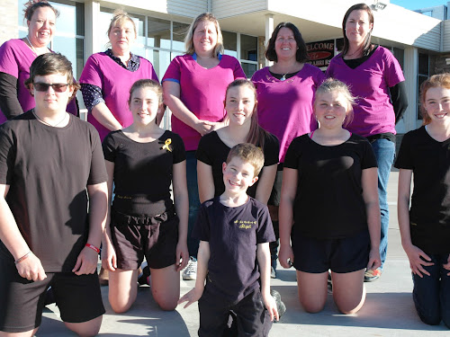 RIGHT: Many of the team behind the fundraising for Stephanie Stuart, front, cousin WIll Stuart, 5, middle, Max Gordon, Annabelle Gordon, Makayla Beddow, Jorja Bakhuis, Stephanie's cousin Georgia Stuart, back, Bec Moloney (fundraising committee president), Wendy Ford (treasurer), Kate Bakhuis, Joe Gordon (secretary) and Stephanie's aunt Kristina Stuart (vice-president). Absent are committee members Cathy Evans and Stephanie's uncle Grant 'Grundy' Stuart.