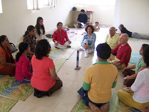 Photo: 1 Month YTT Course - Batch of February 2008 - Jeenal Mehta conducting Candle Gazing (Trataka) practice.