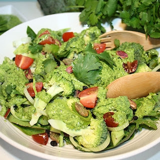 Broccoli Cilantro Pesto Salad.