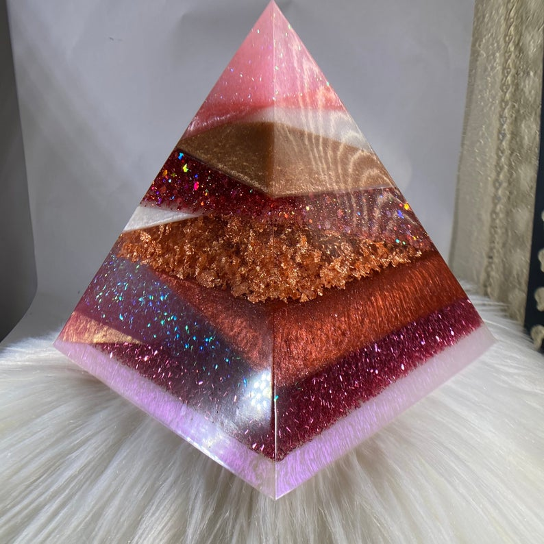 Pink, Rose Gold and White Geometric Pyramid