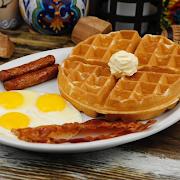 Waffle, Eggs & Meat Breakfast