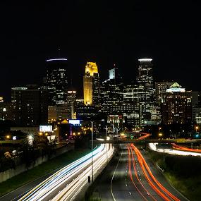 Minneapolis Skyline by Rachaelle Larsen - City,  Street & Park  Skylines ( minneapolis skyline, foshay, msp, i35, minneapolis mn )