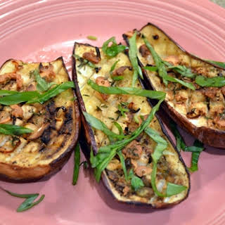 Oven-roasted Eggplants w/Garlic+Chili.