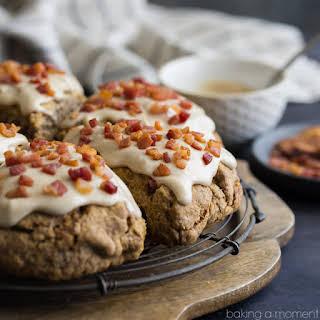 Cinnamon Peanut Butter Chip Scones with Maple Bacon Glaze.