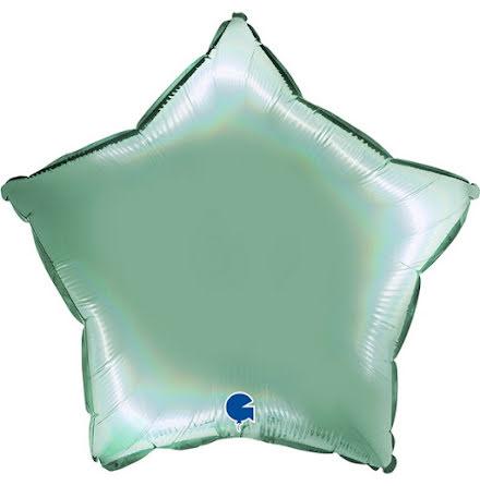 Folieballong Stjärna Rainbow - platinum tiffany, 46 cm