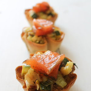 Zucchini and Leek Tartlets with Marinated Salmon