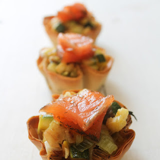 Zucchini and Leek Tartlets with Marinated Salmon.