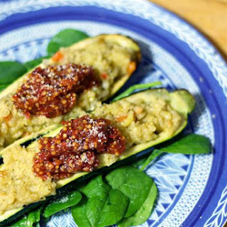 Risotto stuffed zucchini with Roza's Sundried Tomato Mustard