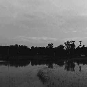 Along the horizon by Satabdi Datta - Landscapes Prairies, Meadows & Fields ( black and white photography, landscape, black and white, b and w, b&w, monotone, mono-tone,  )