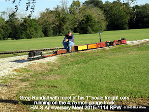 "Photo: Greg Randall with most of his 1"" scale freight cars running on the 4.75 inch gauge track.  HALS Anniversary Meet 2015-1114 RPW"