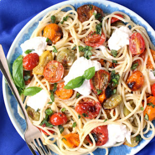 Garlic-Poached Heirloom Tomato Spaghetti w/ Basil & Burrata
