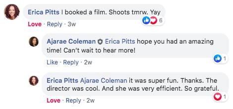 Erica booked a film!