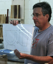 Photo: Here Mark shows the profiles of a spindle roughing gouge.