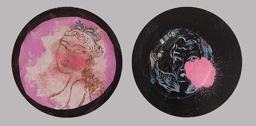 couple amoureux, homme femme, art contemporain figuratif,  petite peinture acrylique collage et aerosol sur toile ronde, tableau rondo, duo, diptyque, histoire d'amour, saint valentin