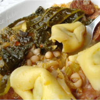 Soup With Sausage, Savoy cabbage, Cannellini Beans and Tortellini.