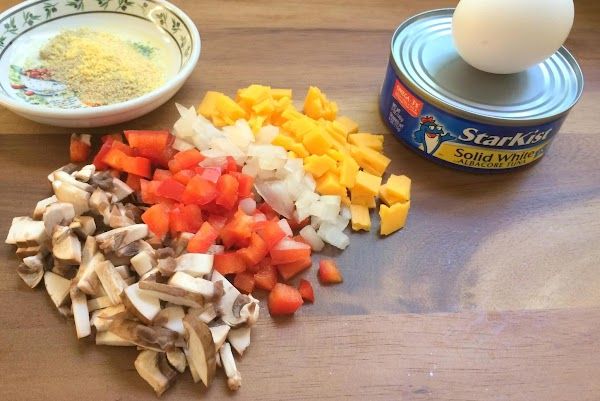 Cut up all your veggies. Drain your tuna and place in a bowl and...