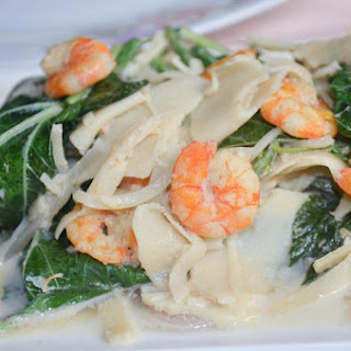 Ginataang Labong with Saluyot (Bamboo Shoots in Coconut Milk with Jute Leaves)