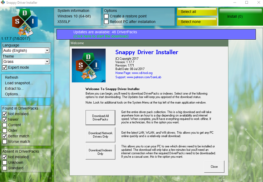 Phần mềm Snappy Driver Installer 1.17.7.1