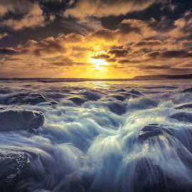 Parsons flows by Nicole Rix - Landscapes Waterscapes ( rocks, ocean, sunset, beach, water )