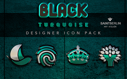 Black Turquoise Icon Pack Screenshot