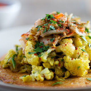 Dosa Cakes With Curried Cauliflower and Kimchi [Vegan, Gluten-Free]