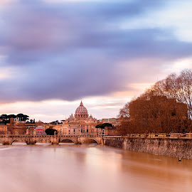 Tiber by David Marjanovic - City,  Street & Park  Vistas ( roma, blue, waterscape, church, vatican, tiber, river, water, italy, lights )