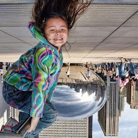 Childs View of the Bean by Don Chamblee - Babies & Children Children Candids ( millennium park, children, chicago, cloud gate )