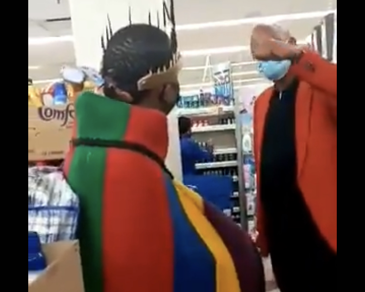 A manager at the Boulders Shopping Centre in Midrand confronted a man dressed in traditional Ndebele attire and asked him to leave a Clicks store in the mall. The man was finally allowed to continue shopping after a Clicks manager intervened, the pharmacy chain said.