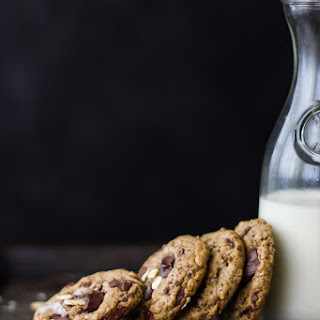 Chocolate Chip Almond Butter Cookies with Buckwheat, Maple, and Oats {Vegan and Gluten-Free}.