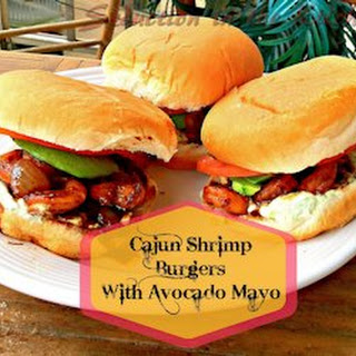 Cajun Shrimp Burgers with Avocado Mayo.