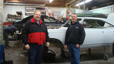 Photo: Galen Govier with Shop Owner Keith Noel in front of Jason Dumonts GTX