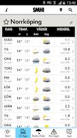 Screenshot of SMHI Väder