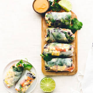 Southwest Vegan Spring Rolls with Smoky Chipotle Sauce.