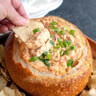 Cheesy Salsa Dip in a Bread Bowl.