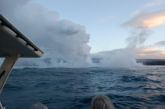 Photo: The fourth, also part of the Waikupanaha flow, is obscured by a huge plume of steam.