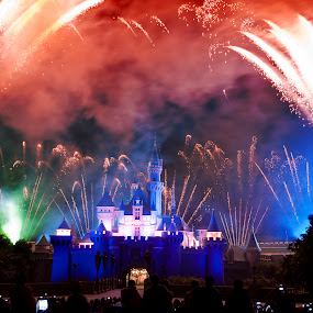Fireworks At Disneyland in HK by Ryan Li - Travel Locations Landmarks ( exposure, landmark, hong kong, cartoon, firework, hk, disneyland, castle, travel, disney )