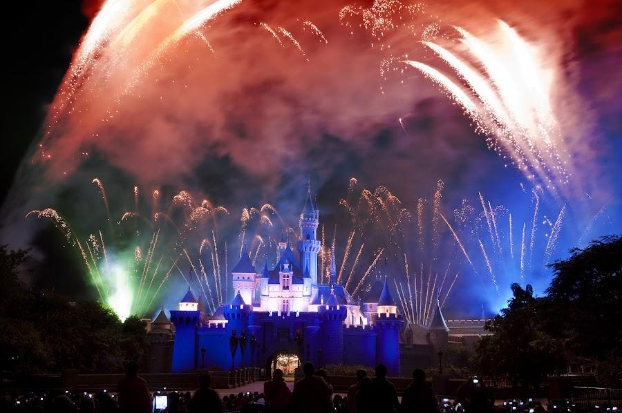 Fireworks At Disneyland in HK by Ryan Li - Travel Locations Landmarks ( exposure, landmark, hong kong, cartoon, firework, hk, disneyland, castle, travel, disney )