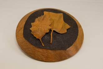 """Photo: Ed Karch 7"""" x 1""""  carved and burned wall hanging [cherry]"""
