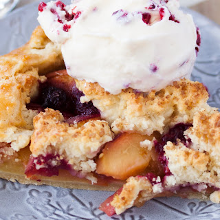 Raspberry Peach Gallette with Cobbler Topping.