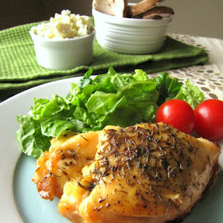 Slow Cooker Stuffed Chicken Breasts with Gorgonzola and Mushrooms.
