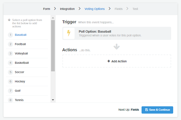 Triggers for email actions