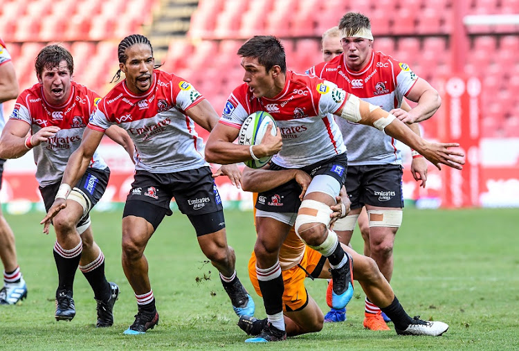 Harold Vorster of the Lions with possession during the Super Rugby match between Emirates Lions and Jaguares at Emirates Airline Park on March 09, 2019 in Johannesburg, South Africa.