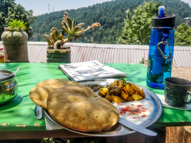 eating+poori+with+view+roja+cafe+bhagsu+dharamshala