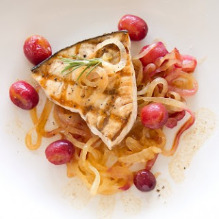 Grilled Swordfish with Sautéed Grapes and Sweet Onions