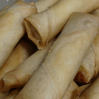 Pork and Vegetable Spring Rolls.